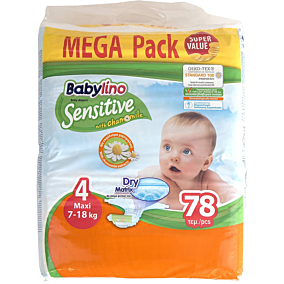 Πάνες BABYLINO Sensitive No.4, 7-18kg (78τεμ.)