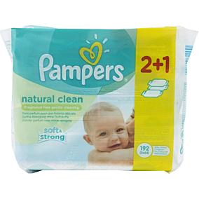 Μωρομάντηλα PAMPERS Natural Clean (3x64τεμ.)
