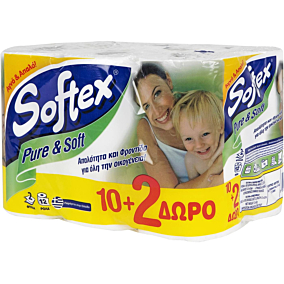 Ρολό υγείας SOFTEX Pure & Soft (12τεμ.)