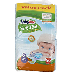 Πάνες BABYLINO Sensitive No.3, 4-9kg (56τεμ.)