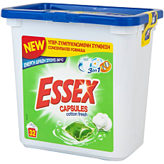 Απορρυπαντικό ESSEX cotton fresh 3 σε 1 πλυντηρίου ρούχων, σε υγρές κάψουλες (32τεμ.)
