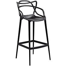 Καρέκλα μπαρ πλαστική PP με πλέγμα μαύρη