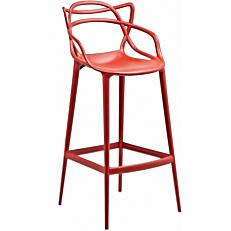 Καρέκλα μπαρ πλαστική PP με πλέγμα κόκκινη