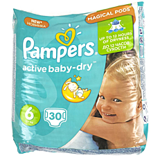 Πάνες PAMPERS active baby-dry No.6, 15kg+ (30τεμ.)