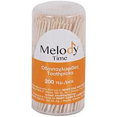 Οδοντογλυφίδες MELODY TIME με δυο μύτες, σε μπολ (6x200τεμ.)