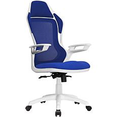 Πολυθρόνα STAMPA γραφείου άσπρη-μπλε