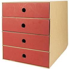 Συρταριέρα με 4 συρτάρια κόκκινη