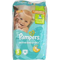 Πάνες PAMPERS active baby-dry No.5, 11-18kg (15τεμ.)