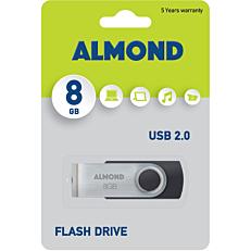 USB stick ALMOND twister USB 2.0 μαύρο (8GB)