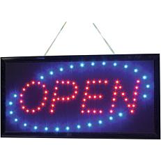 """Ταμπέλα σήμανσης SECURIT """"Open"""", LED, 48x24cm"""