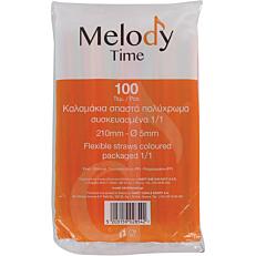 Καλαμάκια MELODY TIME σπαστά πολύχρωμα συσκευασμένα 1/1 210x5mm (100τεμ.)