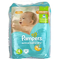 Πάνες PAMPERS Active Baby Dry No.4, 8-14kg (17τεμ.)