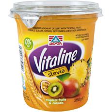 Γιαούρτι ΔΕΛΤΑ Vitaline τροπικά φρούτα και δημητριακά (380g)