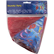 Καπέλα χάρτινα με σχέδιο Party (6τεμ.)