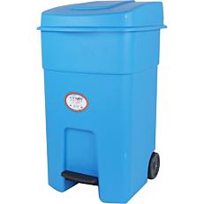Κάδος απορριμμάτων με πεντάλ και ρόδες μπλε 80lt