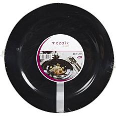 Πιάτα PS πλαστικά μαύρα 23cm (20τεμ.)