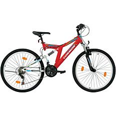 """Ποδήλατο COSMOS MTB 26"""" Columbia 18 ταχύτητες Unisex λευκό και κόκκινο"""