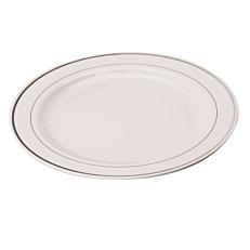 Πιάτα PS πλαστικά λευκά με ασημί ρίγα 19cm (20τεμ.)