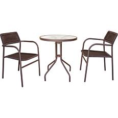 Καρέκλα MIMOSA GARDEN μεταλλική rattan στοιβαζόμενη με καφέ μαξιλάρια