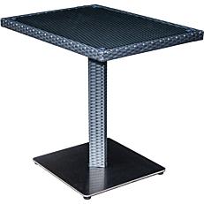 Τραπέζι RESORT LINE αλουμινίου rattan με γυαλί 80x60x75