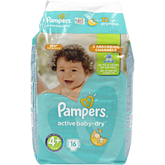 Πάνες PAMPERS active baby-dry No.4+, 9-16kg (16τεμ.)