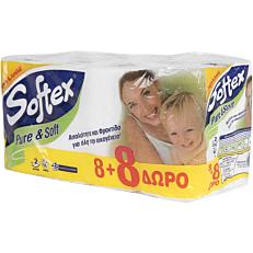 Ρολό υγείας SOFTEX pure & soft (16τεμ.) (8+8 δώρο)
