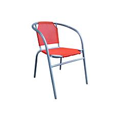 Πολυθρόνα με ασημί σκελετό και πορτοκαλί textilene