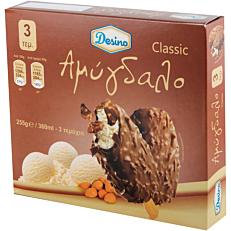 Παγωτό DESINO βανίλια με αμύγδαλο ξυλάκι συσκευασία (3x120ml)