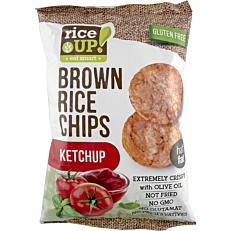 Ρυζογκοφρέτα RICE UP Brown Rice Chips ολικής άλεσης με κέτσαπ (60g)