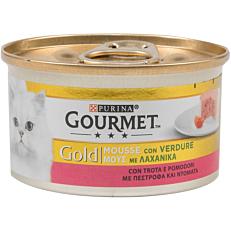 Τροφή GOURMET gold γάτας μους λαχανικών, πέστροφας και ντομάτας (85g)