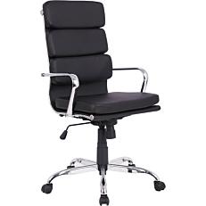 Πολυθρόνα γραφείου PU με βάση χρωμίου και ψηλή πλάτη