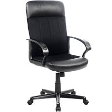 Πολυθρόνα STAMPA γραφείου διευθυντική δερματίνη mesh μαύρη