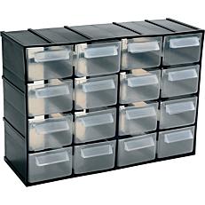 Κουτί αποθήκευσης με 16 συρτάρια, διαφανές 221x85x156