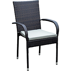 Πολυθρόνα MIMOSA GARDEN μεταλλική rattan με μαύρο μαξιλάρι