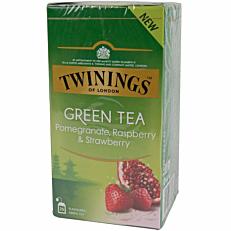 Τσάι TWININGS green pomegranate, raspberry, strawberry (25x1,5g)