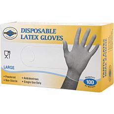 Γάντια PRACTIC μίας χρήσης latex, large (100τεμ.)