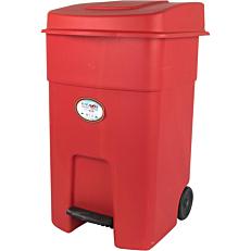 Κάδος απορριμμάτων με πεντάλ και ρόδες κόκκινο 80lt