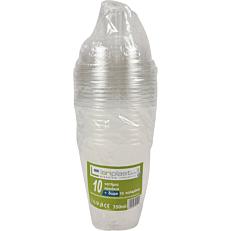 Ποτήρια πλαστικά PP με καπάκι πομπέ και καλαμάκι συσκευασμένο 300ml (10τεμ.)