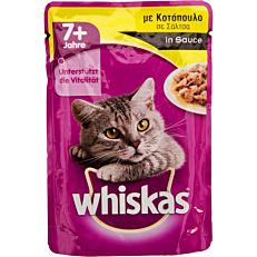 Τροφή WHISKAS γάτας Senior με κοτόπουλο σε σάλτσα (100g)