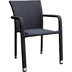 Καρέκλα RESORT LINE μεταλλική rattan στοιβαζόμενη μαύρη