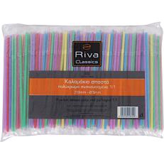 Καλαμάκια RIVA CLASSICS σπαστά, πολύχρωμα συσκευασμένα 1/1 210x5mm (500τεμ.)