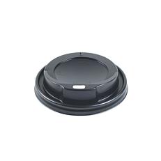 Καπάκια PS με τρύπα, μαύρα για ποτήρια 4oz (50τεμ.)