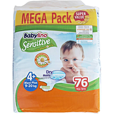 Πάνες BABYLINO Sensitive No.4+, 9-20kg (76τεμ.)
