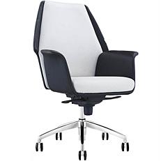 Πολυθρόνα γραφείου αλουμινίου PU ασπρόμαυρη