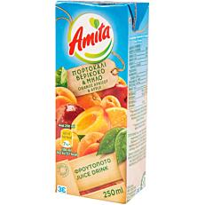 Φρουτοποτό AMITA πορτοκάλι, μήλο, βερίκοκο (250ml)