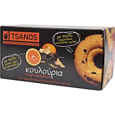 Κουλούρια TSANOS με πορτοκάλι και σοκολάτα υγείας (100g)