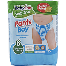 Πάνες BABYLINO Sensitive Pants Boy No.6, 16kg+ (15τεμ.)