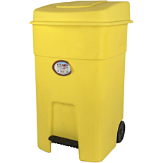 Κάδος απορριμμάτων με πεντάλ και ρόδες κίτρινο 80lt