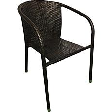 Καρέκλα μεταλλική rattan καφέ