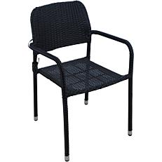Καρέκλα MIMOSA GARDEN μεταλλική rattan στοιβαζόμενη μαύρη
